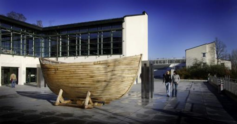 Wooden boat in front of the central library
