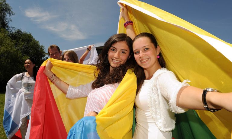 International students with flag