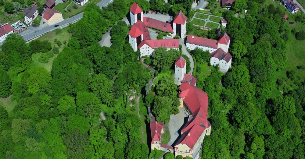 Aerial view of the Castle of Neuburg