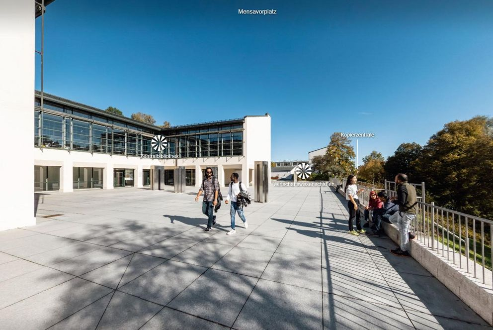 Accessible virtual campus tour: Library Plaza