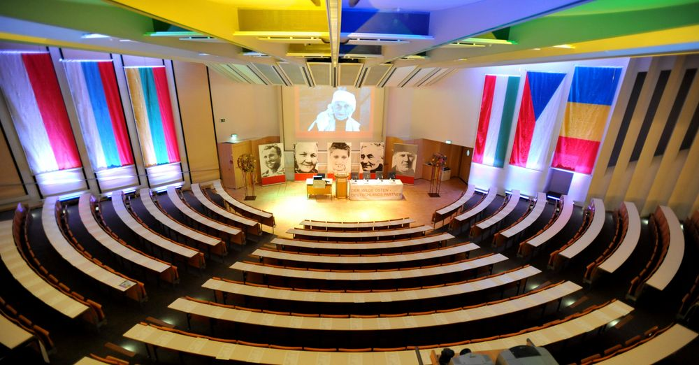 Internationally decorated lecture hall