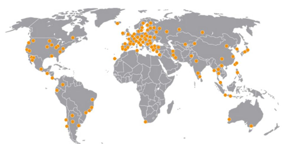 World map with some of the University's partner universities