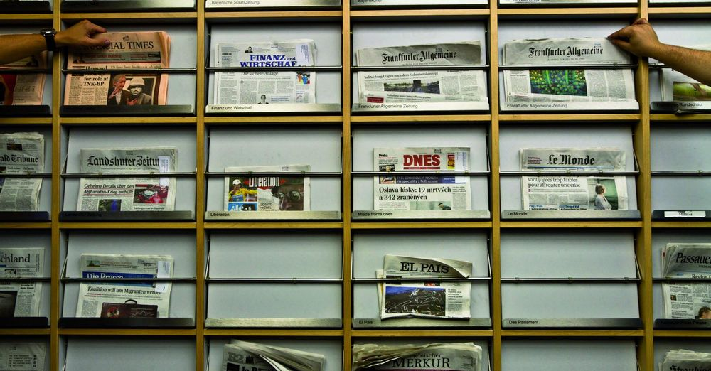 Newspaper shelf in the central library